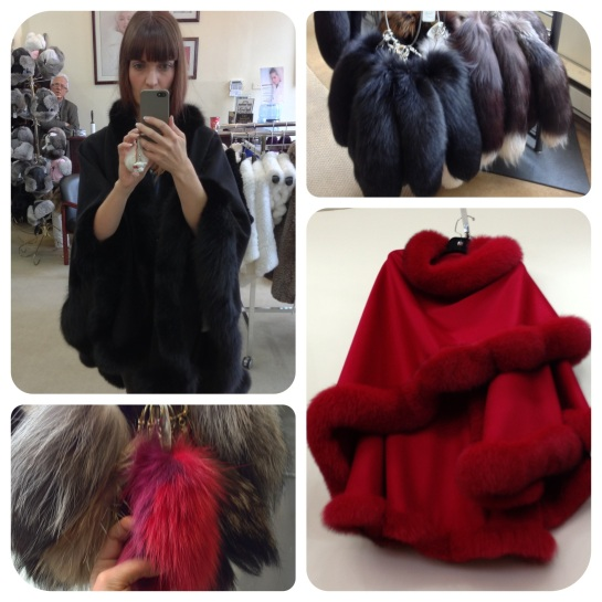 Me wearing a fox trimmed poncho. My new Black Fox tail in the upper right image.